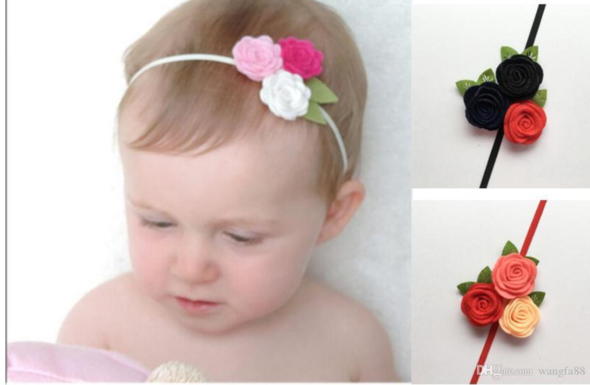 ddf941e621a Triple Felt Rose Flower Headband for Kids Baby Girl