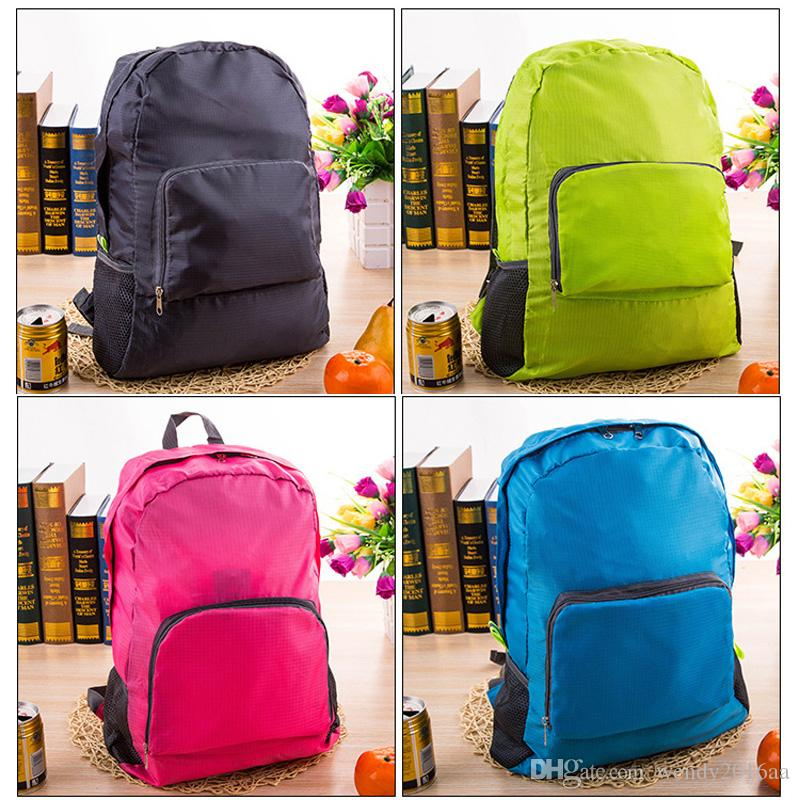 Nylon Foldable Folding Collapsible Portable Zipper Travel Hiking Backpack Outdoor Sports Shoulder Bags