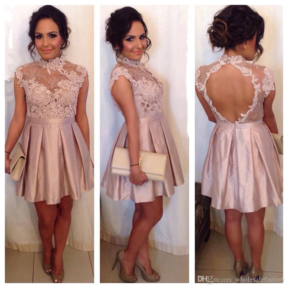 Roze kant een lijn homecoming jurken met pure hoge nek backless mini cocktail party jurken online verkoop 2017 nieuwe op maat gemaakte