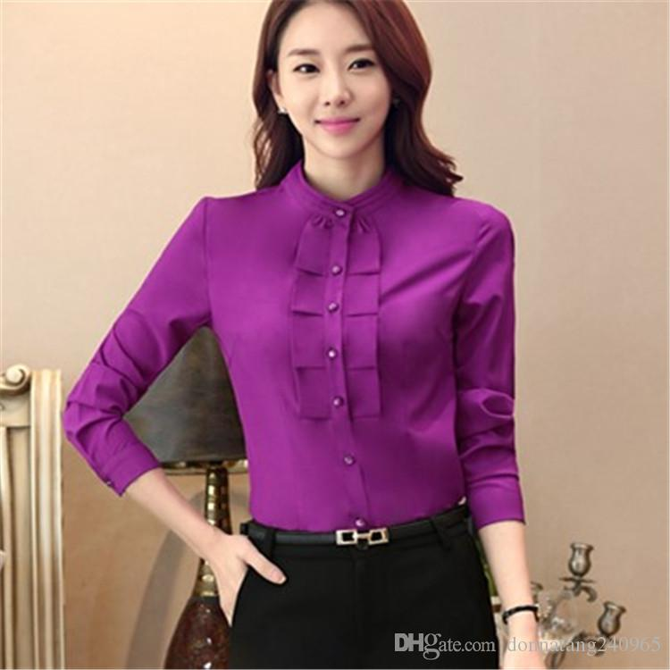 2018 women blouse shirts new formal work women chiffon for Ladies shirts and blouses