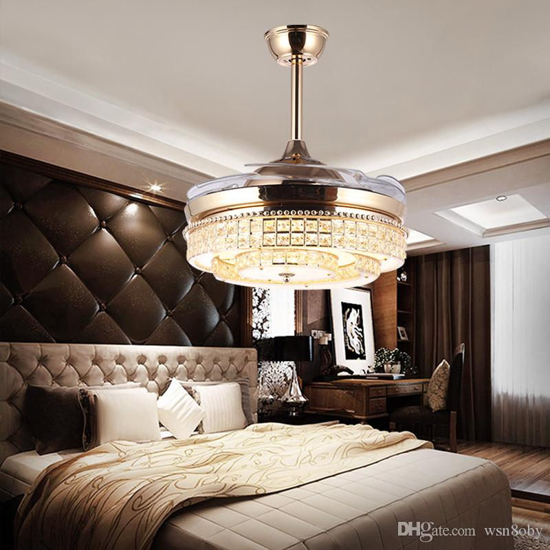2018 Change Color Ceiling Fan Famp Fining Room European Style K9 Crystal With Electric Chandelier Modern Home Bedroom Study Invisible 85 265v From