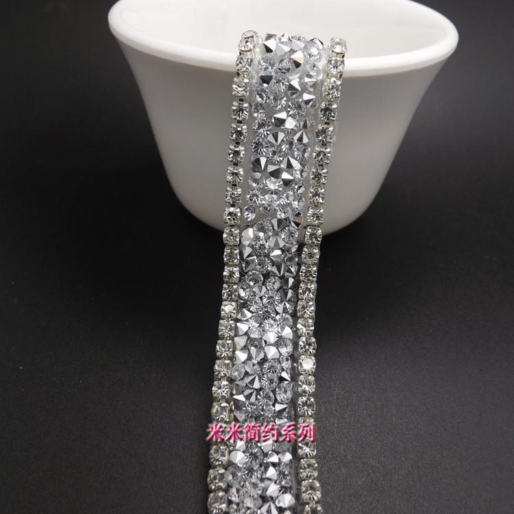 New Products 1.5cm Clear Crystal fashion Crystal Clear Rhinestone trim bridal applique Lace Trim yard