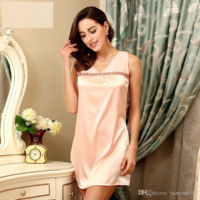 1a13cb601a34 Casual Sleep Skirt Sexy Lingerie Women Sleepwear Satin Nightgown ...