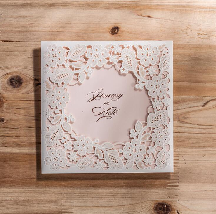 Laser Cut Wedding Invitations Cards Elegant Flowers