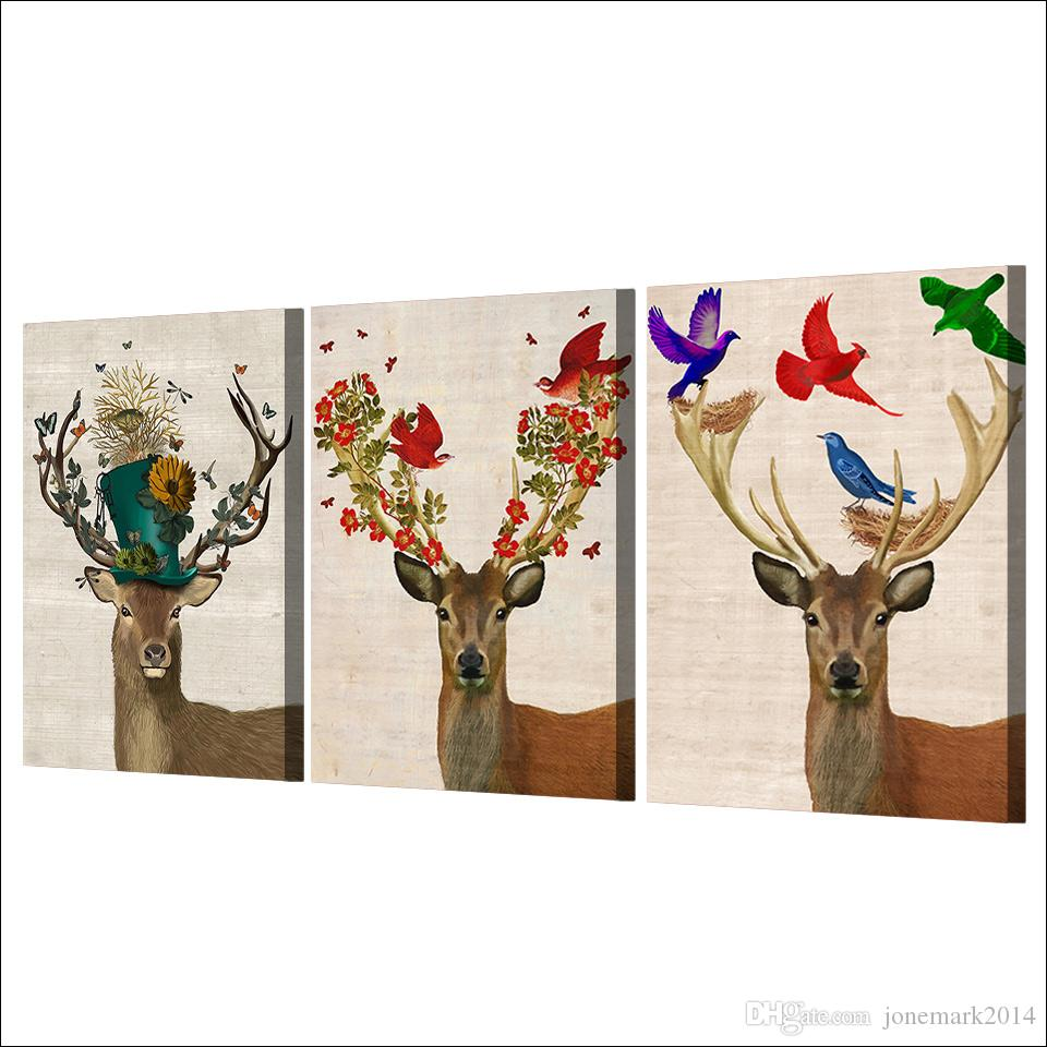 Framed HD Printed Deer Elk Nordic Modern Canvas Painting On The Wall Art Modular Pictures Home Decor Poster