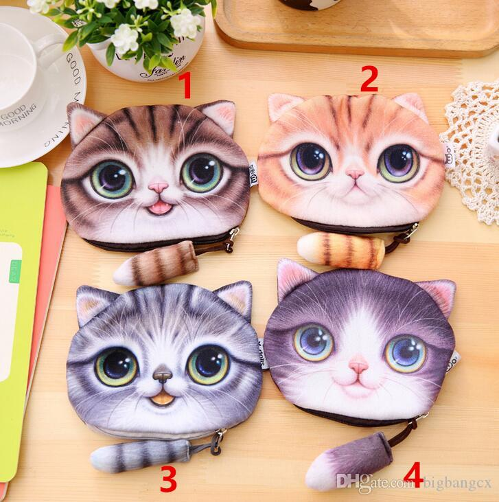 Fashion unisex Cute Animal Cartoon 3D Cat Dog Face Bag Coin Change Purse Case Wallet Change Pocket Ladies Workmanship Change Purse