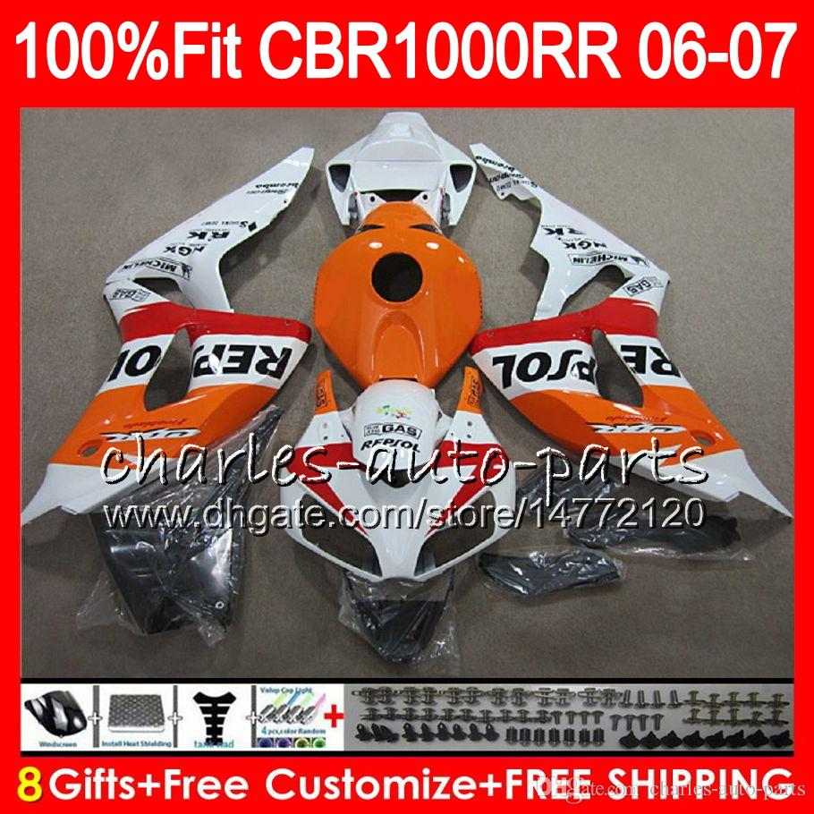 Injection Body For HONDA CBR 1000RR Repsol White CBR1000 RR 06 07 Bodywork 78NO36 CBR1000RR 06 07 CBR 1000 RR 2006 2007 Fairing kit 100% Fit