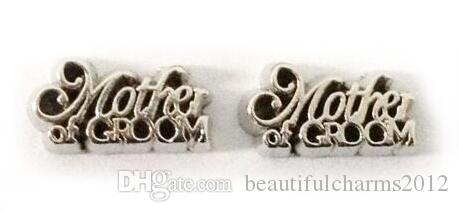 20 Adet / grup Gümüş anne Damat Mektubu Yüzen Madalyon Takılar Cam Yaşam Manyetik Madalyon Kolye Için Fit