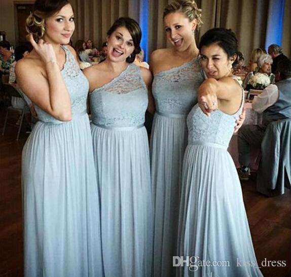 Bir Omuz Bebek Mavi Uzun Gelinlik Modelleri Eşleştirilmiş Kanat Pleats A-Line Kat Uzunluk Düğün Konuk Şifon Akşam Parti Abiye 2019 B67
