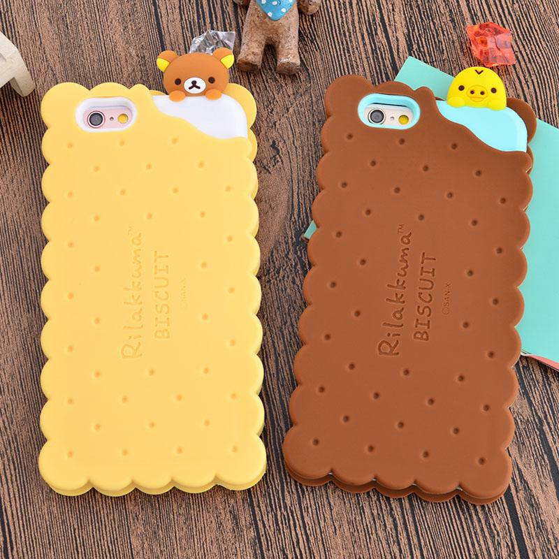 official photos 5b618 b4661 New Cute 3D Cartoon Cookie SAN-X Bear Rilakkuma Biscuit Soft Silicon Capa  Phone Cases Cover For iPhone 6 6S 6G 7 7 Plus