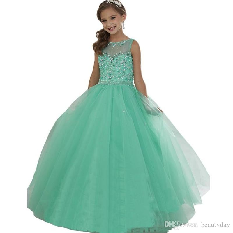 Mint Green Little Girl's Pageant Dresses Beaded Crystals Sheer Neck Zipper Back Flower Girls Birthday Princess Dress Formal Wear