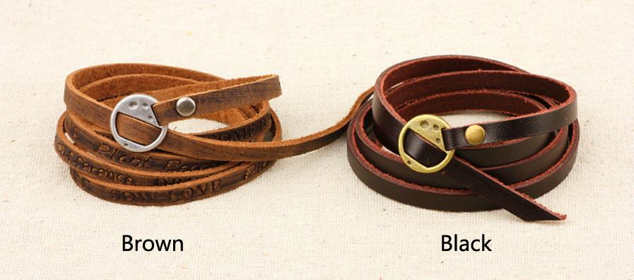 Retro Vintage Multi-Wrap Brown Handmade Wrap leather English Letters Bangle Charm Bracelet Women Men Jewelry