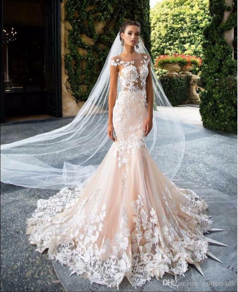 stunning lace wedding dresses 2017 mermaid sexy illusion. Black Bedroom Furniture Sets. Home Design Ideas