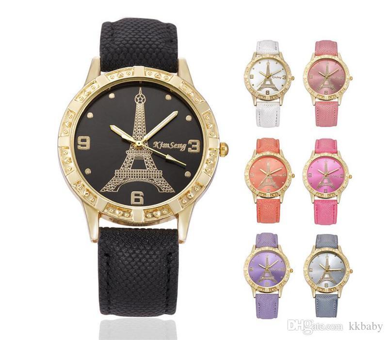 أزياء الحب قلب المرأة جلدية باريس برج ايفل كاوبوي خمر السيدات بنات الطلاب اللباس كوارتز الترفيه جنيف ساعات المعصم
