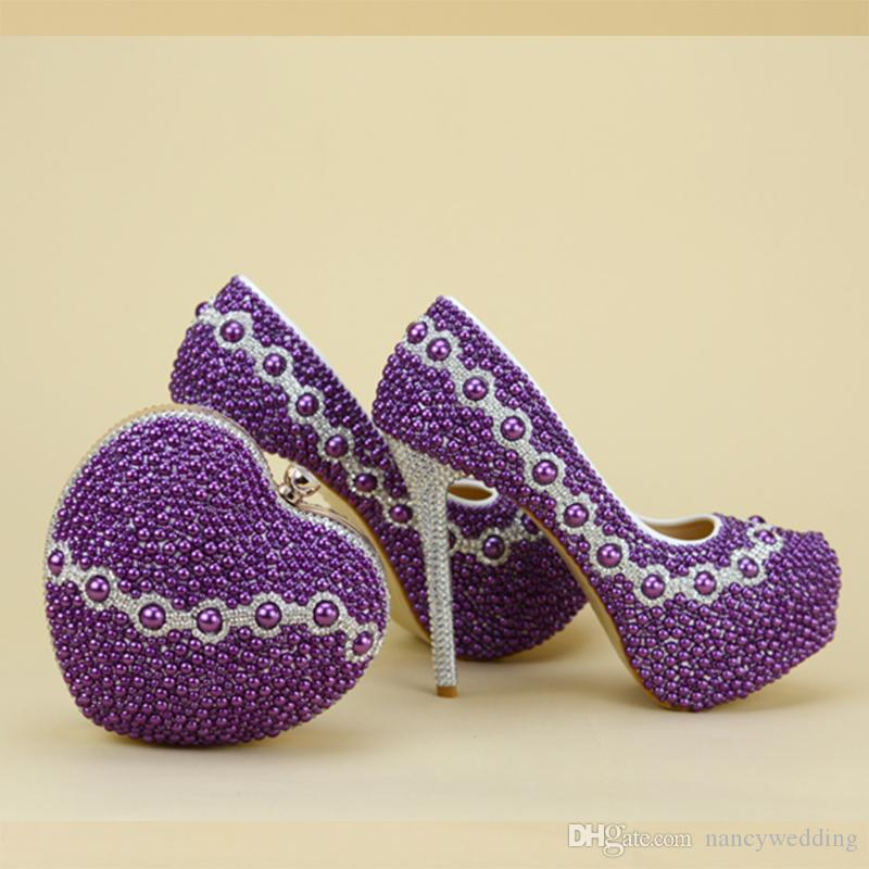 2017 Newest Design Purple Pearl Bridal Wedding Shoes With Lovely Matching Bag Delicate Handmake Stiletto Women Party High Heels