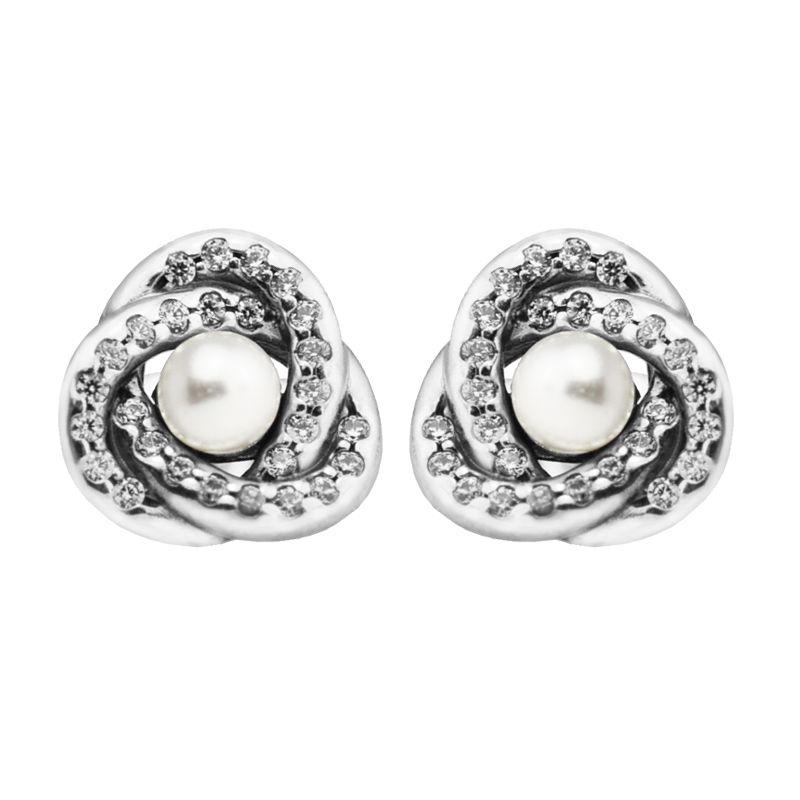 7d8ff76de 2019 Luminous Love Knots White Crystal Pearl Earrings European Style ...