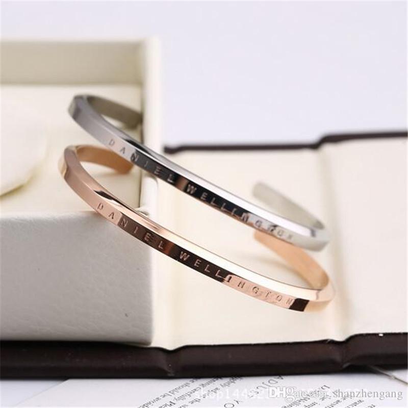 1PCS Wide DW Bracelets 100% Titanium Steel Rose Gold