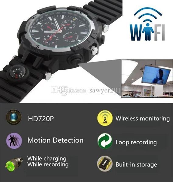 Drahtlose wifi Uhr Lochkamera 8GB 16GB HD 720p Uhr Fernüberwachung Kamera mit IR Nachtsicht Bewegungserkennung
