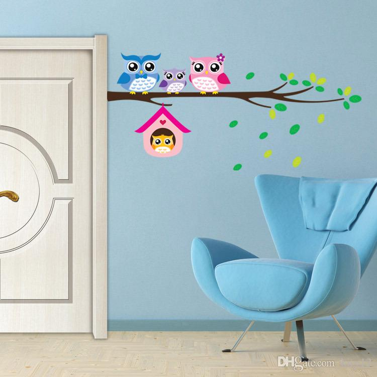 Cartoon Branch and Owl Wall Stickers for Kids Rooms Living Room Home Decor Wall Decor Mural Art