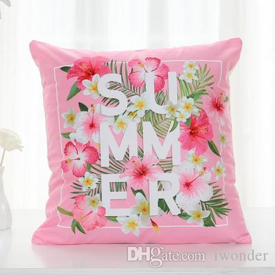 Summer Flower Cushion Cover Flamingo Birds Tropical Palm Tree Pillow Cover Soft Pillow Cases 40X40cm Kids Favor Bedroom Sofa Decoration