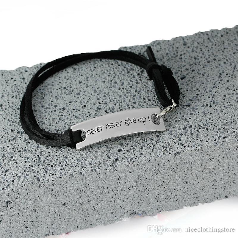 Bracelet d'inspiration Vintage Bracelet en cuir avec des lettres gravées jamais abandonner pour homme femme comme cadeaux du festival