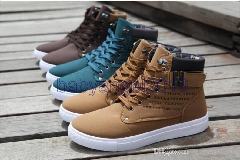 2017 venta caliente Nuevos Zapatos de Hombre Moda Para Hombre Primavera Otoño Zapatos de Cuero Calle de los hombres Moda Casual High Top Zapatos Zapatillas de Lona