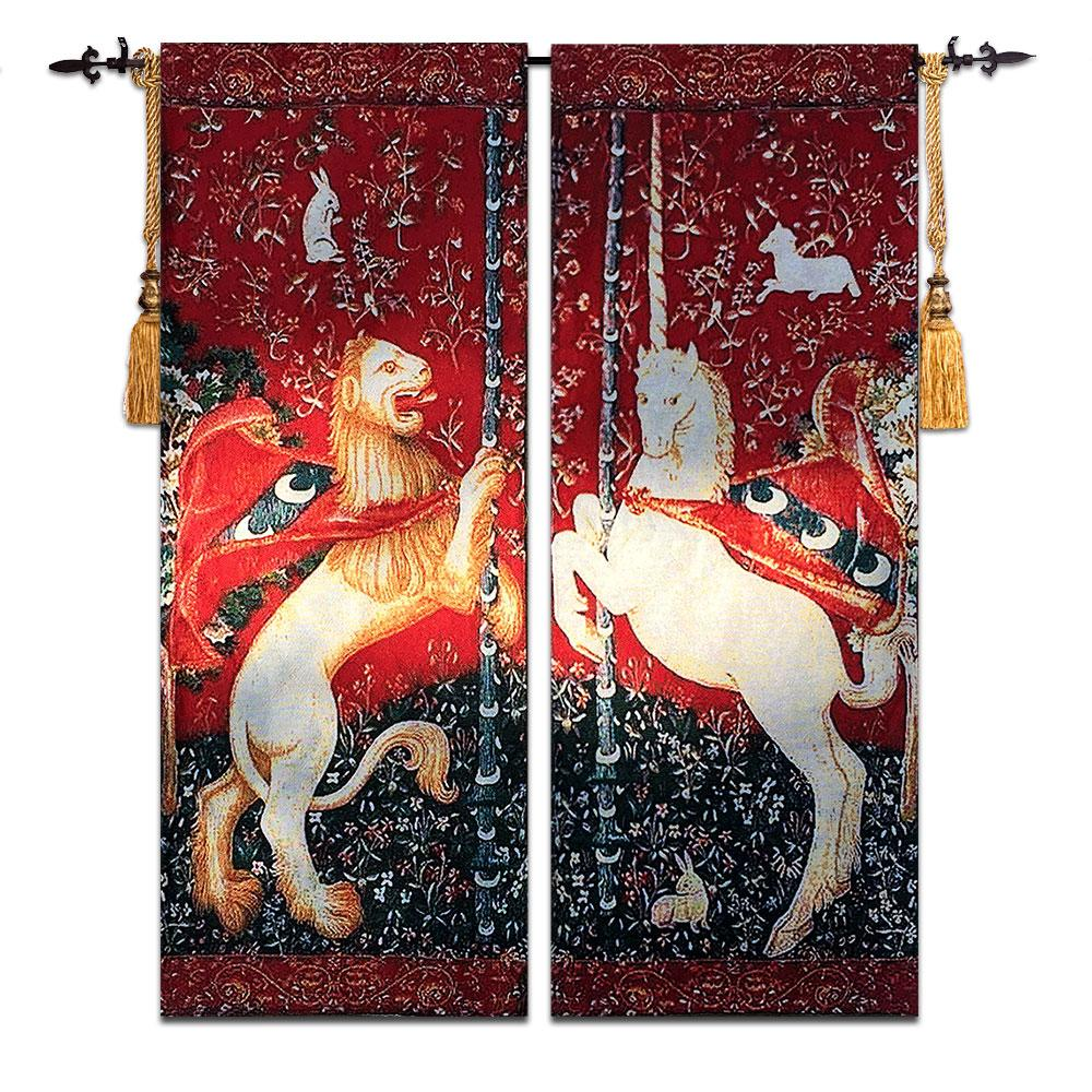 Tapestry Wall Hanging lion and unicorn a pair belgium art wall tapestry wall hanging