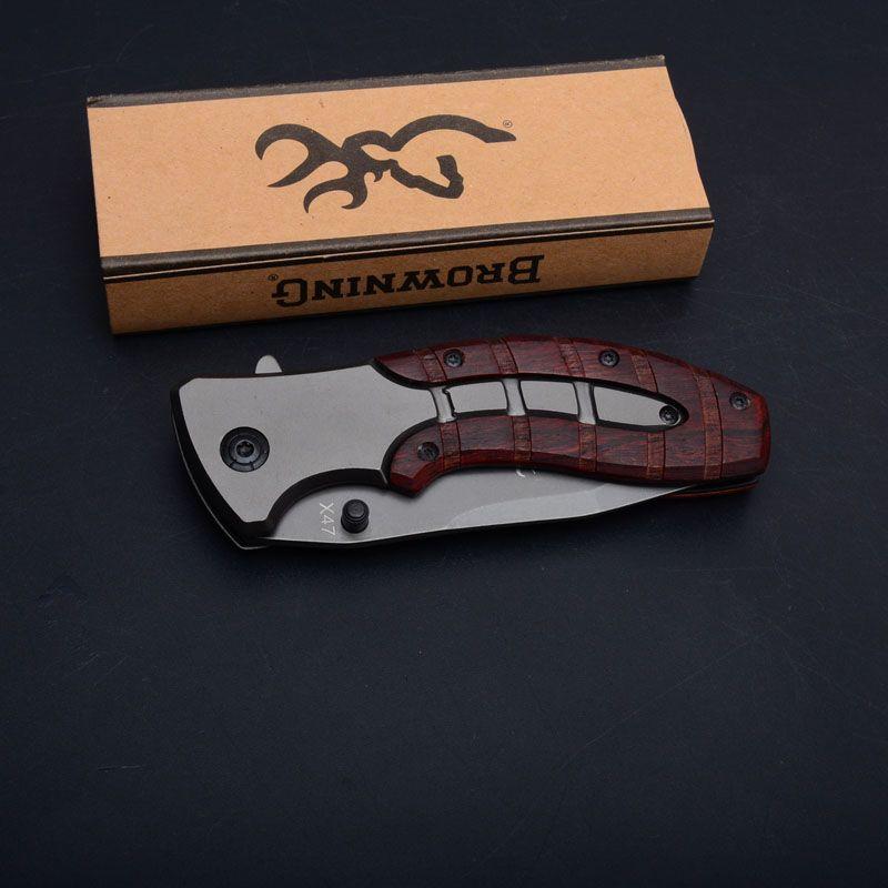 Browning X47 Titanium Тактический складной нож Flipper Открытый Кемпинг Охота Выживание карманный нож деревянной ручкой Military Utility EDC Инструменты
