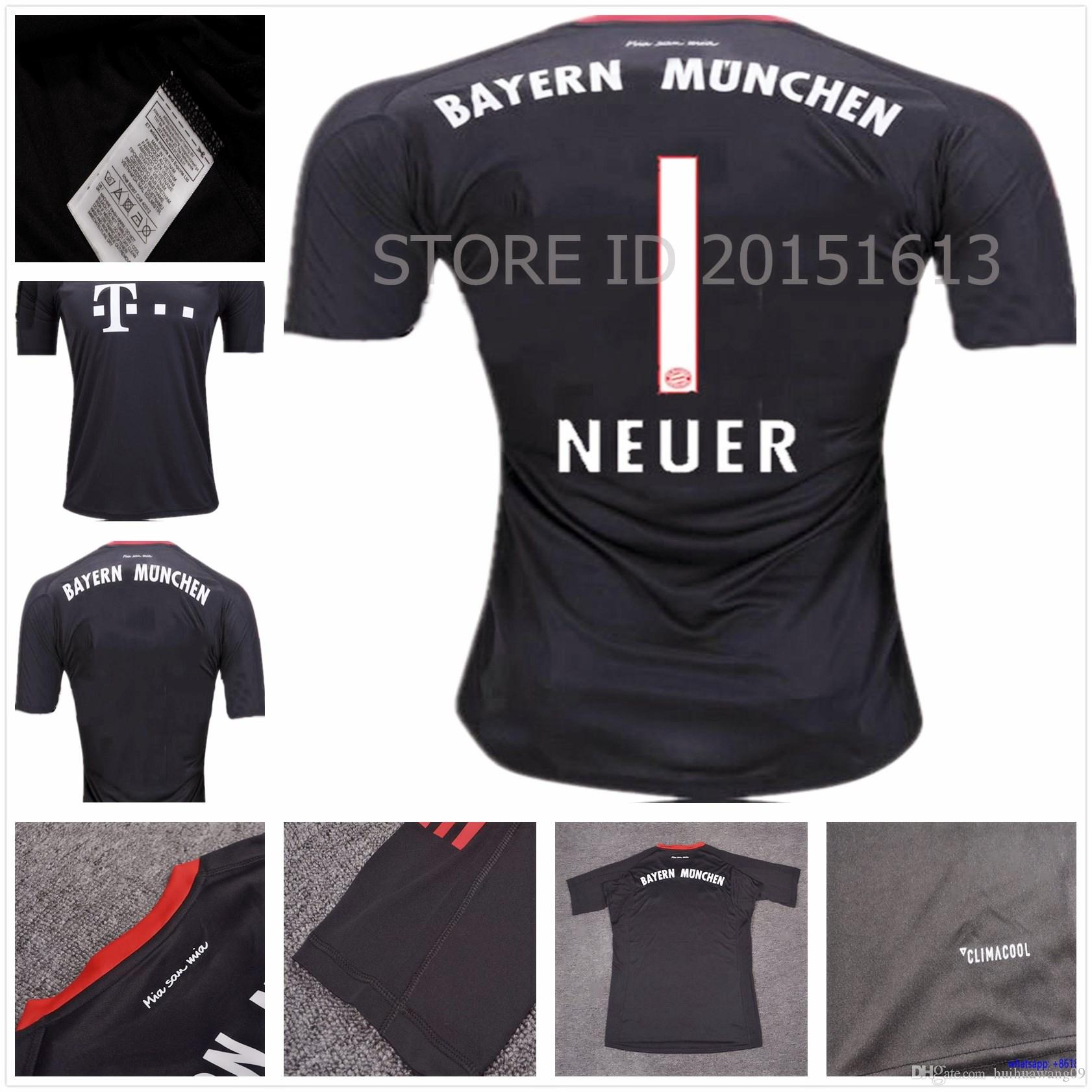 33f614e31 ... stock now ecbea 91bcf  norway bayern munchen 1 manuel neuer goalkeeper  black mens 2016 2017 club soccer jerseys 56d94 3d949