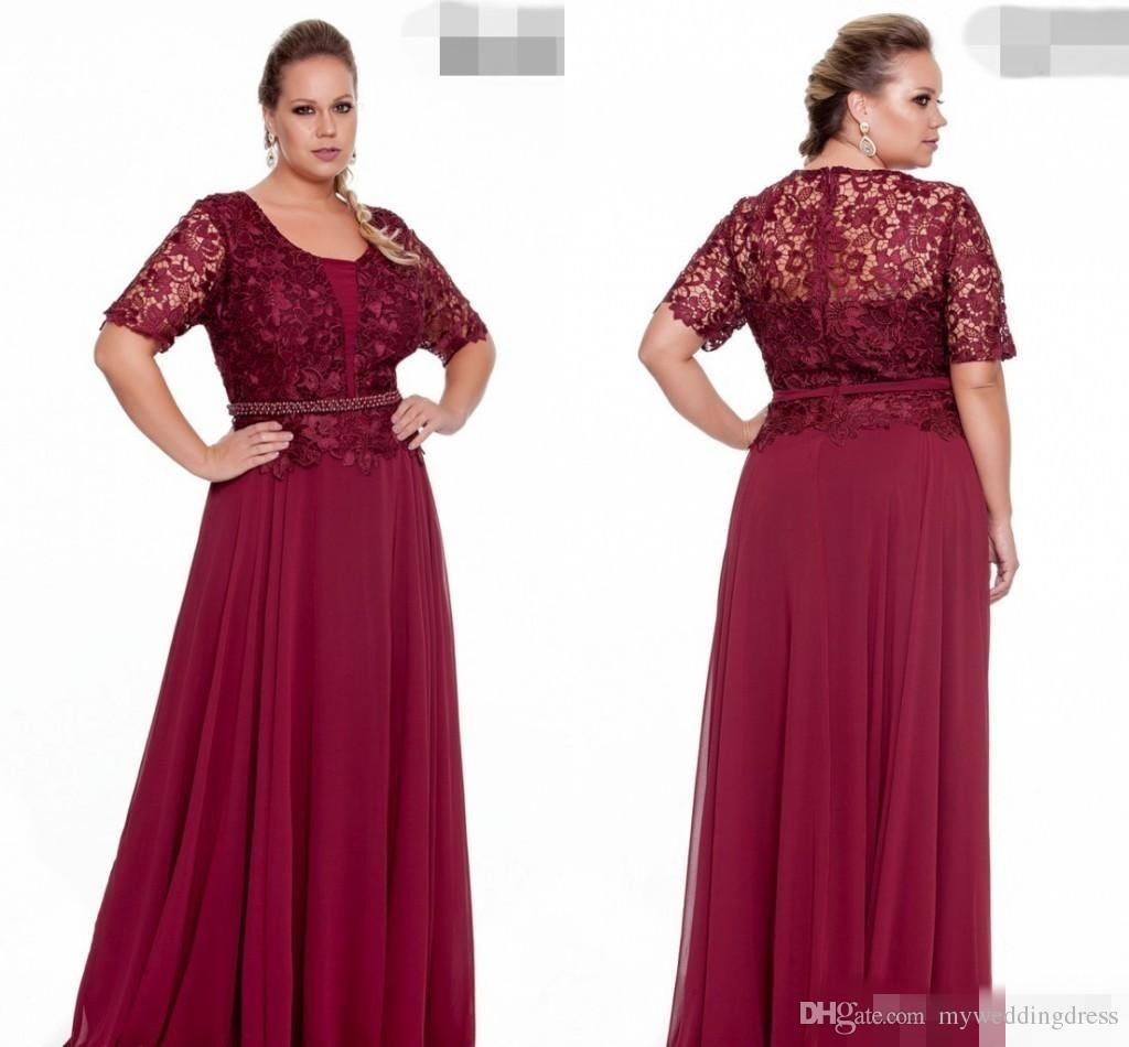 burgundy plus size mother of the bride dresses with short sleeve