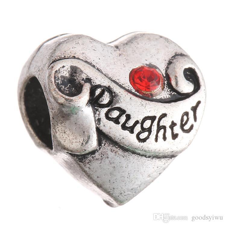 Strass Kristall Tochter Buchstaben Tibet Silber Herzform Europäischen Großes Loch Spacer Perlen Für Charms Armband XZ18
