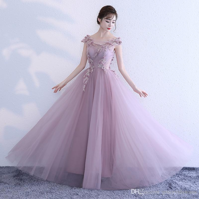 901cdd0ee385 Scoop Blush Pink Cheap Prom Dresses Tank A Line Tulle Formal Evening Dresses  Lace Appliques With Flower Girls Graduation Dresses Xscape Prom Dresses  1950s ...
