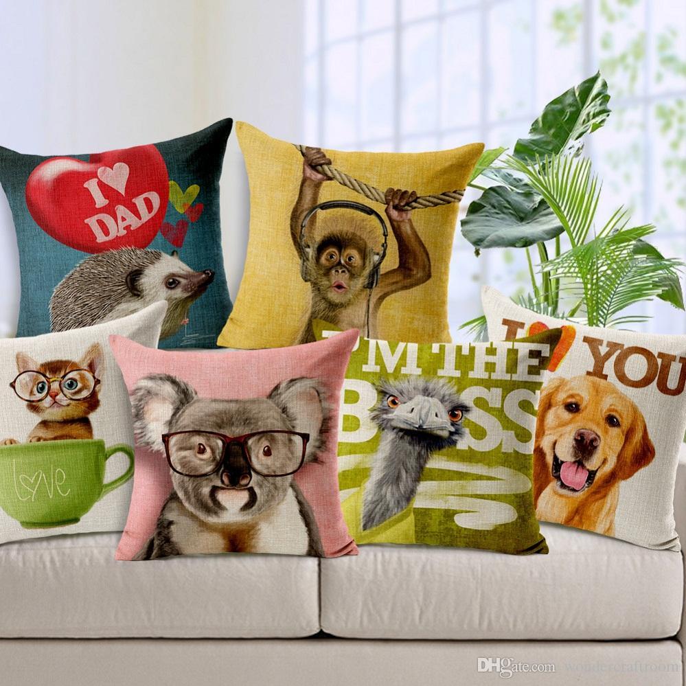 Animals Cushion Cover Cute Kawaii Dog Cat