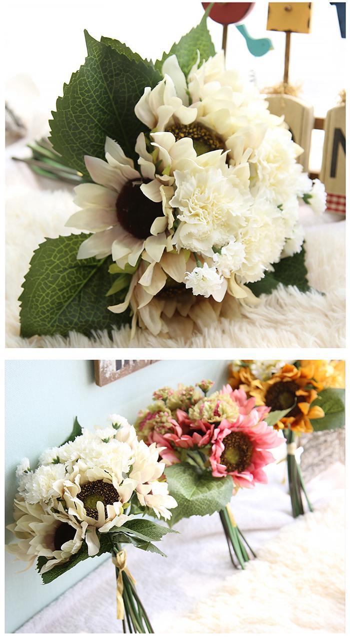인공 유화 색 해바라기 꽃다발 침구 세트 또는 결혼식 꽃다발 장식을위한 도매 옵션 인공 해바라기 매력
