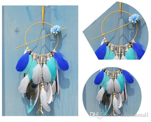 Boho Compressed Turquoise Blue Feathers Native American Style Dream Catcher Pendant Necklace For Women Sterling Silver