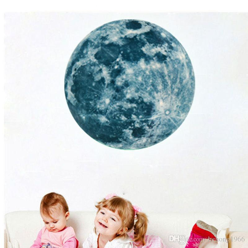 Luminous Stickers 3D Stereo Super Bright Moon Glowing Wall Sticker For Kid Room Water Proof Fluorescence Light Decal 12lf F R