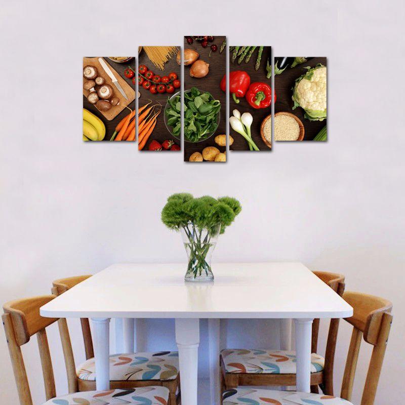 2019 5 panels wall art table top full of fresh vegetables fruit and rh dhgate com