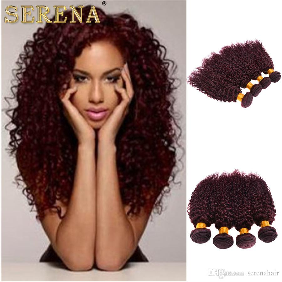 2017 new style Burgundy Hair Extensions Kinky Curly 100g Brazilian peruvian 99J Human Hair Weaves Red Wine Color hair bundles