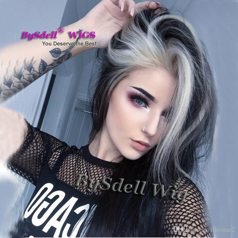 Long Straight Smooth Hair Highlight Blonde Dark Black Color Wig Synthetic Heat Resistant Lace Front Wigs for Fashion Black/ White Lady