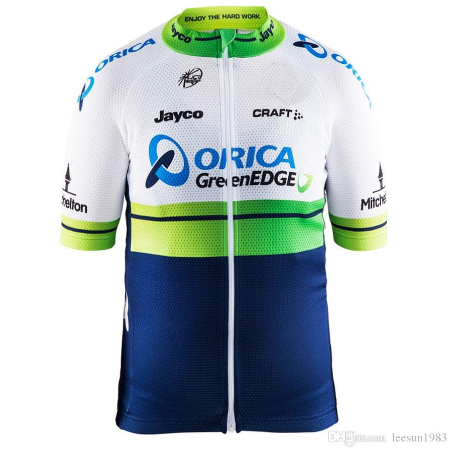 2015 ORICA GREENEDGE PRO TEAM GREEN BLUE ONLY SHORT SLEEVE ROPA CICLISMO  SHIRT CYCLING JERSEY CYCLING WEAR SIZE XS 4XL Best Bib Shorts Bianchi Jersey  From ... 2bfd3ee34