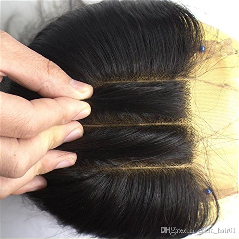 아기 머리를 가진 매끄러운 똑 바른 처녀 브라질 사람의 모발 4x4 정면 레이스 마감은 중간 세 부분 8-24
