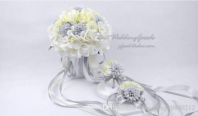 Romantic rice white silver bridal bouquets with handmade charming romantic rice white silver bridal bouquets with handmade charming wedding flowers with ribbon cheap wedding favors artificial flower arrangements flowers mightylinksfo