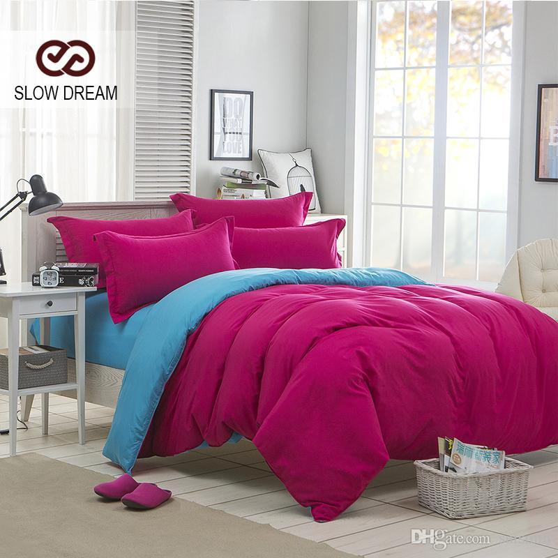 Slow Dream Plain Double Bedding Set Rose