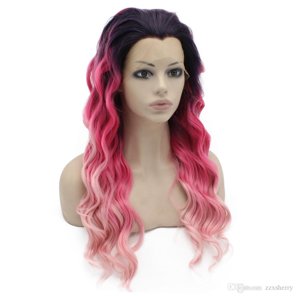 """S06 24"""" Long Two Tone Pink Ombre Cosplay Party Wig Heat Friendly Synthetic Hair Lace Front Wig"""