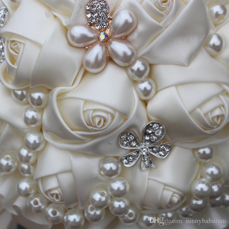 Fildişi Düğün Buketleri Düğün Gelin Buketleri Yapay Çiçek İnciler Kristal Tatlı 15 Quinceanera Buket W225-4