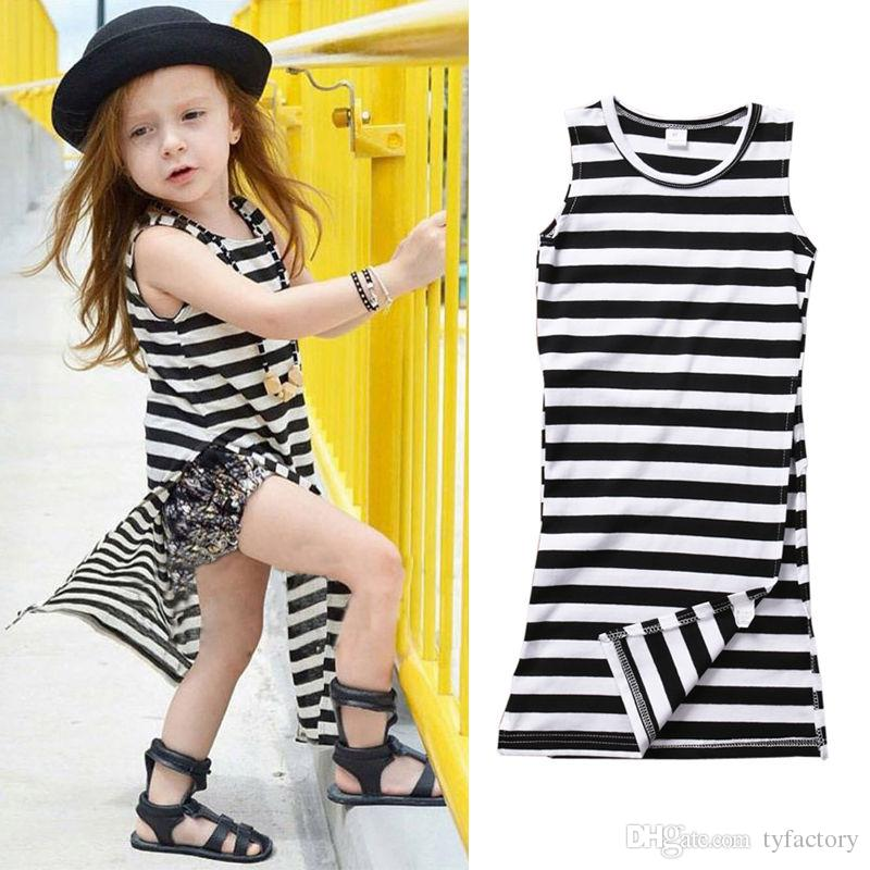 0a4f082be15b 2019 Fashion Kid Long Dress High Side Slit Skirt Striped Girl Clothing  Cotton Sleeveless Summer Baby Clothes Party Dress 1 6Y Factory Toddler From  Tyfactory ...