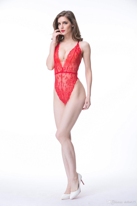 2018 Оптовая горячие женщины Сексуальная пижамы кружева Красный Lintai пижамы халаты 1 шт. падение доставка Eb670