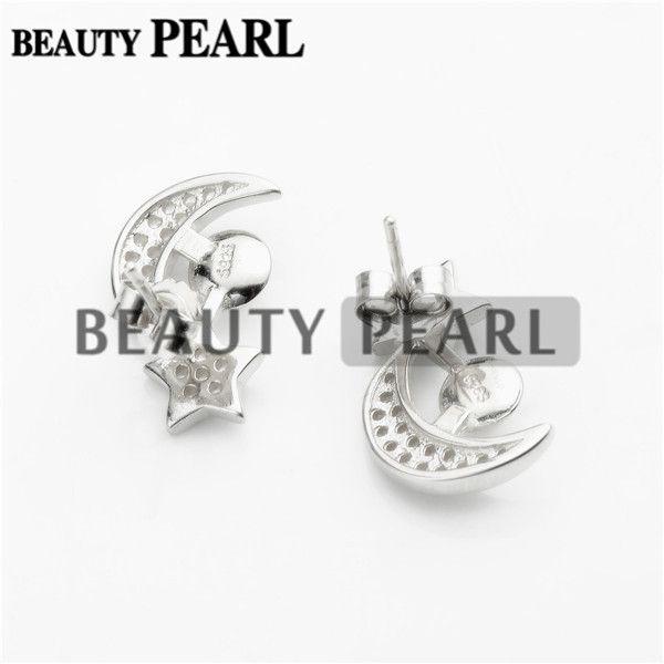 Pearl Earring Settings 925 Sterling Silver Zircon Star and Moon Stud Earrings Blank Mountings