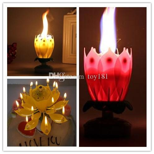 Lotus Flower Rotating Music Candle Flame Petal Wedding Birthday Party Style With Event Festive Environmental Protection