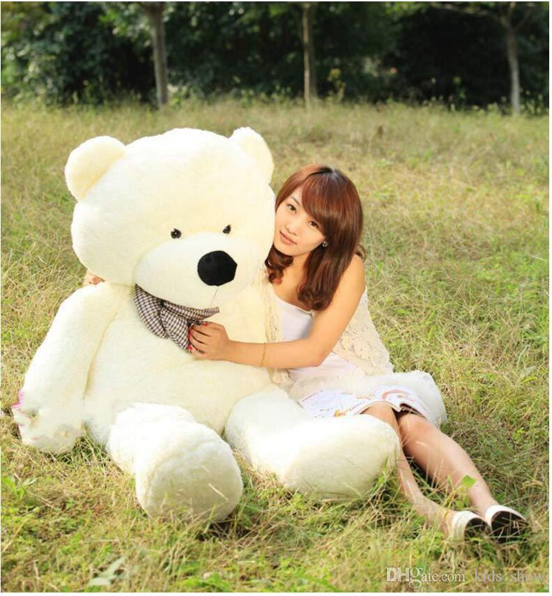 160CM One Piece Soft PP Cotton Stuffed Bear Toy With Tie Giant Teddy Bears Plush Toys Girlfriends Christmas Presents